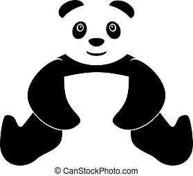 giù, panda, mani, due, seduta