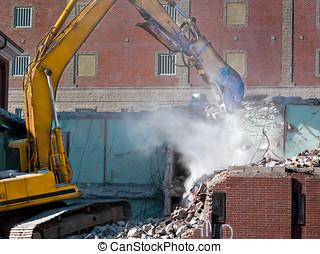 giù, presa, idraulico, scavatore, esso