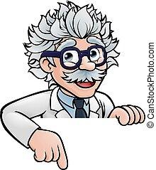 giù, scienziato, carattere, cartone animato, indicare