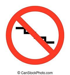 giù, segno., scala, no