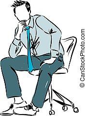 giù, uomo affari, illustrati, seduta
