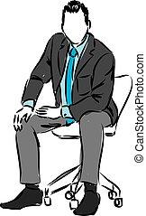 giù, uomo affari, seduta