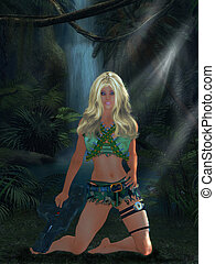 GI Barbie - Woman dressed in combat gear in front of a...