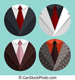 giacca, appartamento, set, tie., affari