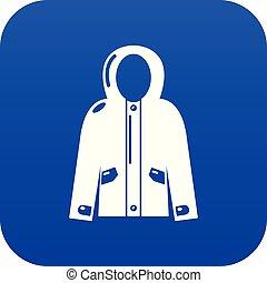 giacca, blu, incappucciato, vettore, icona