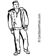 giacca, corto, giovane