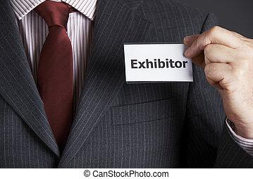giacca, fissaggio, distintivo, exhibitor, uomo affari