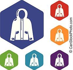 giacca, hexahedron, incappucciato, vettore, icone