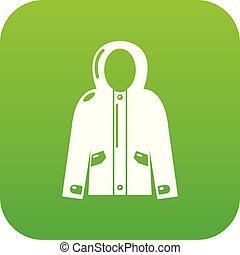 giacca, incappucciato, verde, vettore, icona