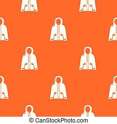 giacca, modello, incappucciato, vettore, arancia