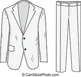 giacca, stile, illustration., ufficio, schizzo, drawing., mockup., mano, affari, vettore, completo, clothing., pantaloni