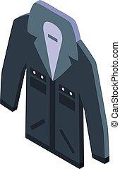 giacca, stile, nero, isometrico, icona, jeans