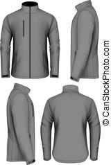 giacca, uomini, disegno, sagoma, softshell