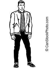 giacca, uomo, giovane, corto