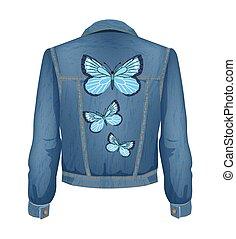 giacca, vettore, jeans, pezze, illustrazione