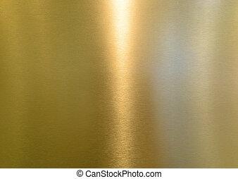 giallo, baluginante, metallo, superficie