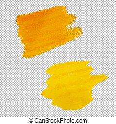 giallo, blots, isolato, fondo, trasparente