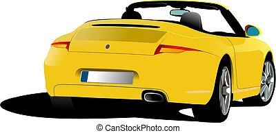 giallo, cabriolet, strada