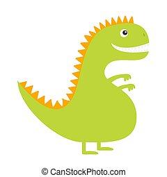 giallo, color., isolato, dinosaur., bianco, carino, bambino, design., fondo., character., divertente, dino, appartamento, cartone animato, verde