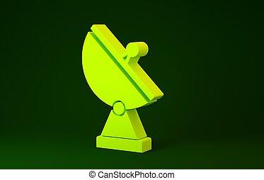giallo, concept., illustrazione, ricerca, 3d, render, system., verde, icona, isolato, militare, fondo., radar, minimalismo