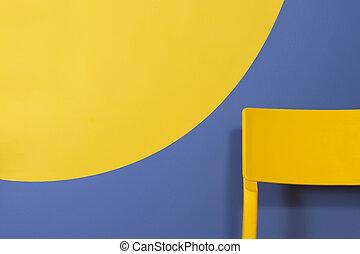 giallo, concept., minimo, design., chair., interno, moderno