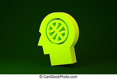 giallo, concept., render, illustrazione, 3d, verde, pallacanestro, icona, isolato, pensieri, fondo., minimalismo