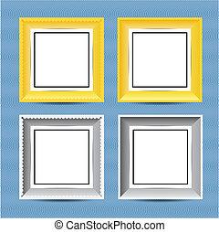 giallo, e, grigio, cornice, appendere, parete, tipo d'onda
