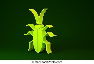 giallo, isolato, minimalismo, fondo., verde, 3d, scarafaggio, icona, render, concept., illustrazione