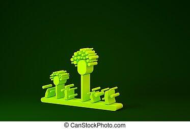 giallo, isolato, muffa, minimalismo, fondo., verde, 3d, icona, render, concept., illustrazione