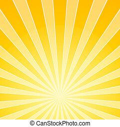 giallo, luce luminosa, raggi