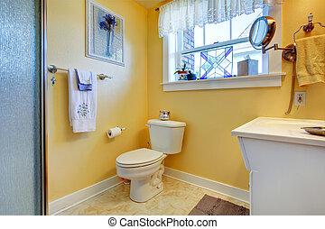 Blu pavimento stanza bagno giallo luminoso piastrella bianco