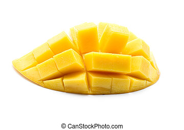 giallo, mango, isolato, bianco, fondo, tailandese, frutta