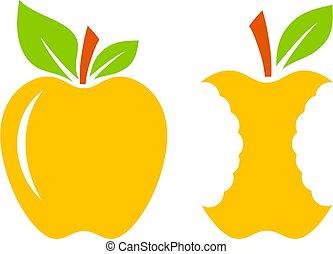 giallo, maturo, icona, centro, mela