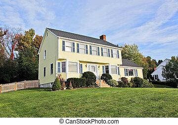 giallo, nuova inghilterra, stile, casa coloniale