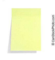 giallo, ombra, nota, appiccicoso