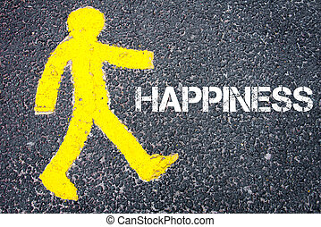 giallo, pedone, figura, camminando verso, felicità