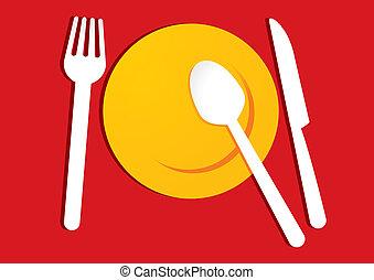 giallo, piastra, su, sfondo rosso