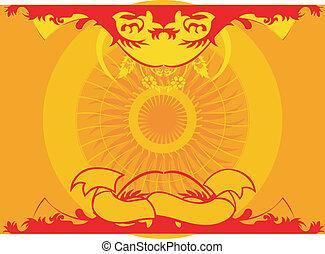 giallo, rosso, simmetria, fondo