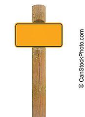 giallo, segno metallo, asse, signage, spazio copia, fondo, nero