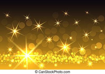 giallo, starburst, sfavillante, fondo, natale