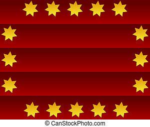 giallo, stelle, su, uno, sfondo rosso