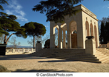 Gianicolo hill, Italy. Dedicated to the fallen for Rome. ...