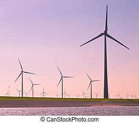 Wind Turbines along the Sea Dike