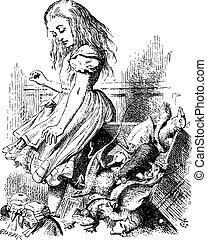 Giant Alice upsets the jury (literally) - Alice's Adventures in Wonderland original vintage engraving.
