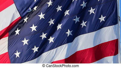 Giant American Flag Stars And Stripes Waving In The Wind , Close Up View - DCi 4K Resolution