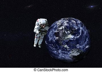 Giant astronaut near Earth planet of Solar system.