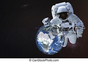 Giant Astronaut near the Earth planet