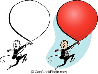 Giant Balloon - A man floats away holding onto a giant red ...