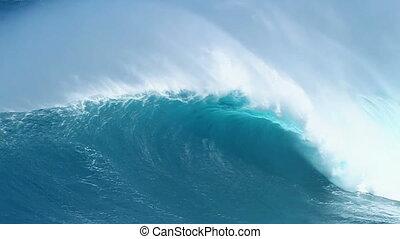 Giant Blue Ocean Wave breaking Slow Motion