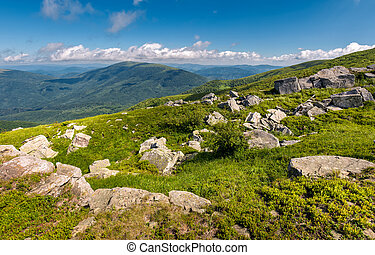 giant boulders on a grassy slope. summer scenery of Polonina...